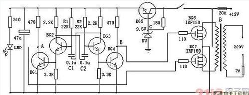 可以将12v直流电源电压逆变为220v市电电压