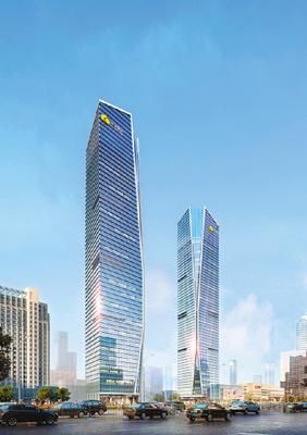 大型超市为一体的双子塔超高